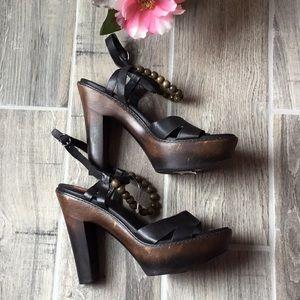 UGG Leather Ankle Straps Platforms Heels
